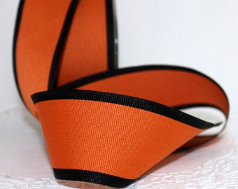 "Orange & Black Ribbon, 1.5"" wide by the yard, Orange Grosgrain Ribbon, Halloween, Fall Ribbon, Gift Wrapping, Wreaths, Sewing"