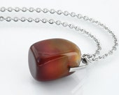 Antique Pendant | Agate and Silver Pendant |  830 European Silver Red Stone Fob Ornament | Arts & Crafts - 34 Inch Long Chain Included