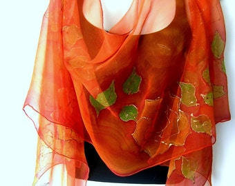 Hand Painted Silk Scarf, Roses, Orange May Green, Floral Silk Chiffon Scarf