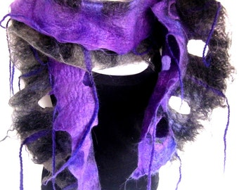 Felted Scarf With Fringes And Holes Long,, Ruffle, Wavy, Purple Gray, Merino Wool Alpaca Felted Scarf