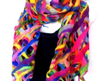 Felted Scarf, Lattice Lacy Scarf, Rainbow Multicolor, Fishnet, Merino Wool Felted Scarf