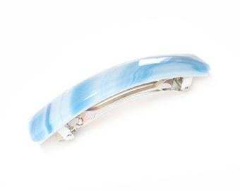 Hair Clip, French Barrette, Blue & White Diagonal Stripes, Art Glass