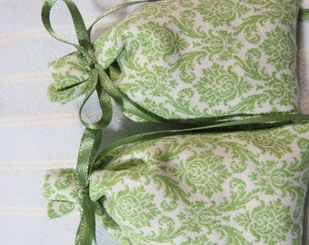 "Green 3""X2"" Sachet-'Brandied Pear' Fragrance-White Father's Day Sachet-Green Ribbon-Cotton Fabric Herbal Sachet-Cindy's Loft-277"