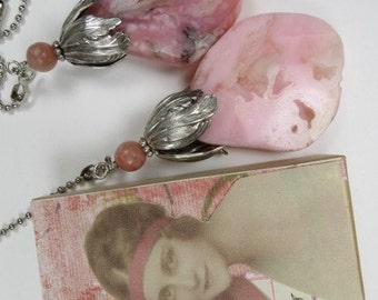 Fan Chain Pair for Ceiling Fan or Lamp with Pink Opal and Antiqued Silver Color Findings