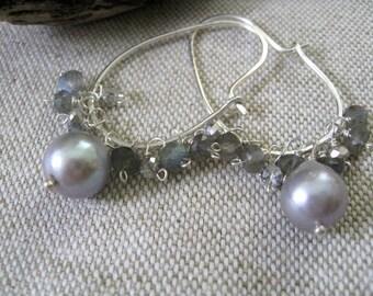 Gem Cluster Hoop Earrings, Silver Gray Baroque Pearl Labradorite Earrings, Modern Gemstone, Sundance Earrings, Cluster Earrings