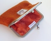 Orange Harris Tweed Coin Purse , metal snap frame