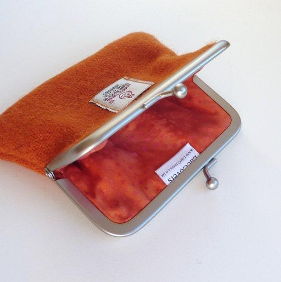 Orange Harris Tweed Coin Purse , metal snap frame