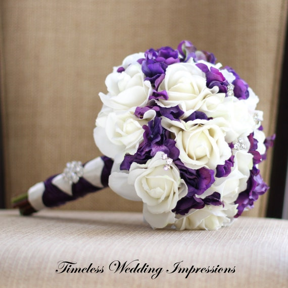 Silk Bouquet Purple Wedding Bridal Roses Hydrangea Real Touch Flowers