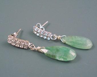 Emerald Gemstone Earrings, 9 x 17MM  Long Teardrop Briolette and Rhinestone Studded Long Drop Post. ON SALE were 49.00