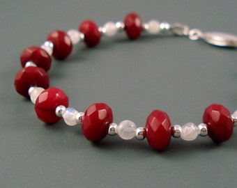 Ruby Bracelet, Natural Rubies and Moonstone with Sterling Silver, OOAK Ruby Bracelet