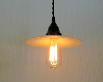 Veazie. Beautiful VINTAGE Milkglass PENDANT Light With Edison Bulb