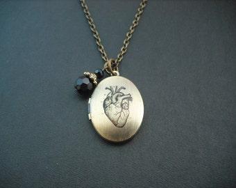 Heart altered photo locket necklace