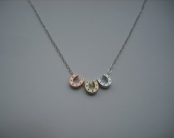 Horse Shoe Necklace, Rose Gold, Gold and Silver Tiny Horse Shoe Necklace - sterling silver chain