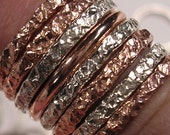 One 12 Gauge CrinkleTexture  Stacker Ring in Various Metals All Precious To Me
