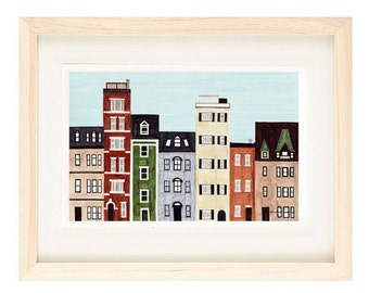 BOSTON, MASSACHUSETTS - New England, Back Bay, Brownstones, Historical Buildings, Row Houses, Colorful Illustration Art Print 11 x 17