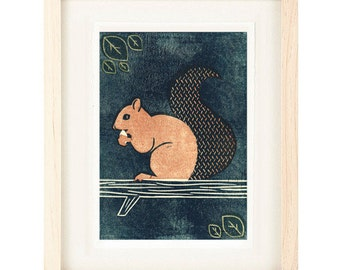 SQUIRREL Linocut Reproduction Art Print: 4 x 6, 5 x 7