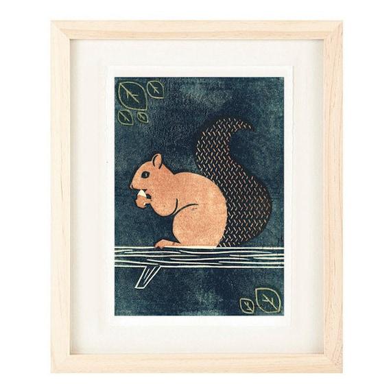 SQUIRREL Linocut Reproduction Art Print: 4 x 6, 5 x 7