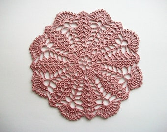 Crochet Doily Dusty Pink Cotton Lace with Fan Edge Heirloom Quality