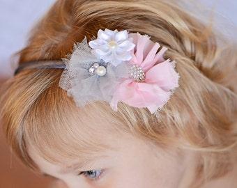 Light pink headband, gray hard headband, girl hair accessories, toddler headband, wedding flower girl gift, grey flower headband, womens