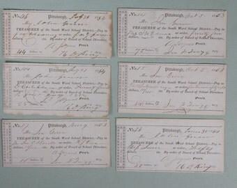 1853 Pittsburgh Pennsylvania Checks Board of School Directors South Ward Public School Twigg. Pre Civil War