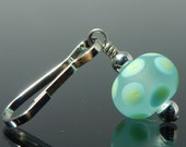 Zipper Pull, etched clear, turquoise blue and lime green polka dots, handmade lampwork glass bead, women's dangly charm for purses and coats