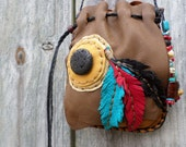 Native Inspired Oak colored Deerskin Leather Medicine Bag with a Lava disc and Leather Feathers