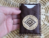 Handmade Dark Chocolale colored Deerskin Leather Business / Credit Card Holder/Case with an Eye of a Medicine Man symbol design on the front