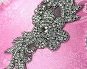 """N1 Black Backing Silver Beaded Crystal Rhinestone Applique Flower 8.5"""" (N1-bkcr)"""
