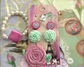 Pink Button Post Earrings Mint Green Flower Earrings on Gift Art Tag Cottage Chic Winter Sale
