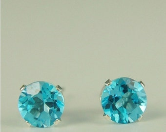 Swiss Blue Topaz Stud Earrings Sterling Silver 6mm Round 2ctw