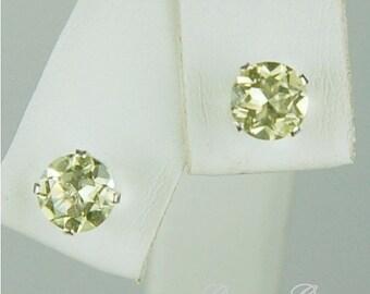 Lemon Quartz Stud Earrings Sterling Silver 6mm Round 1.45ctw