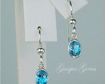 Swiss Blue Topaz Dangle Earrings Sterling Silver 7x5mm 1.55ctw