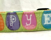 Happy Easter Multicolored Easter Eggs on Green Dog Collar