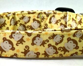 Major Monkey Business Brown and Tan Monkeys and Stars on Banana Yellow Dog Collar