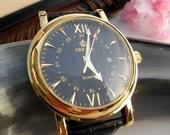 Luxury Black and Gold Wrist Watch - Black Leather Wristband - Quartz - Steampunk - Watch - Item QWA023