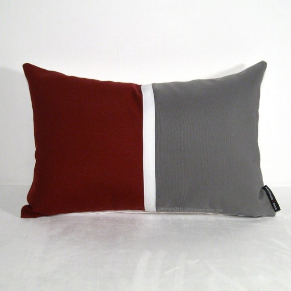 Burgundy Color Decorative Pillows : Color Block Pillow Cover Burgundy Pillow Grey Outdoor by Mazizmuse
