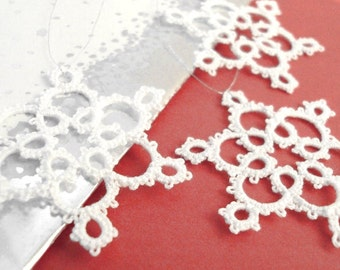 Christmas Tree Decorations in Tatting - Set of Three - Celyna - Small