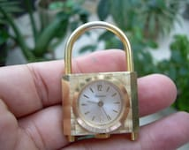 Unique Vintage  Lucerne Swiss made Alluminumn gold tone watch Padlock pendant accessorie NOT RUNNING
