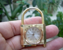 Unique Vintage  Lucerne Swiss made Alluminumn gold tone watch Padlock pendant accessorie NOT RUNNING