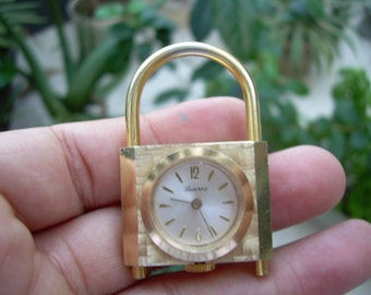 Unique Vintage  Lucerne Swiss made Aluminum gold tone watch Padlock pendant accessory NOT RUNNING