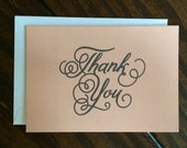 Swirly Rose Thank You Notecard Set