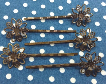 10 Pcs Antique Brass Bobby Pin W/Filigree, NICKEL FREE (BB04)