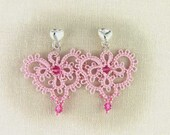 Pink Lace Earrings, Lace Heart Posts, Tatted Lace Earrings, Romantic Earrings, Heart Earrings, Lightweight Earrings, Ready to Ship Earrings