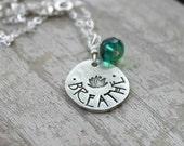 yoga breathe lotus, hand stamped pewter necklace pendant, jewelry