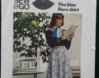 1970s Butterick Bias Flared Skirt Pattern