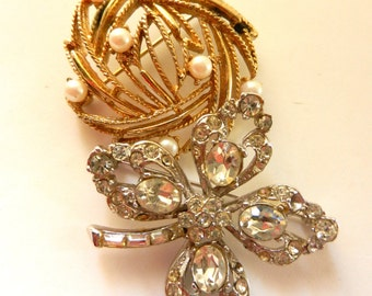 1950 BROOCHES/PINS - two beautiful brooches of gold and silver,crystals and pearls - lovely couple collector pins - 2 pcs--art.256/3-