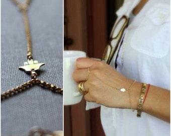 Hamsa Hand Chain - 14K Goldfilled and Silver - Hamsa Bracelet