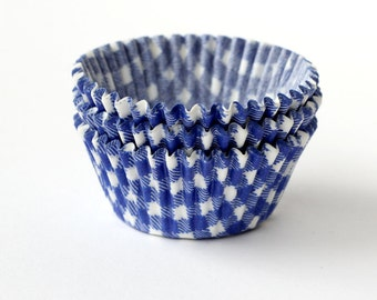 Blue Gingham Cupcake Liners, Blue Baking Cups, Summer Cupcake Liners (50)