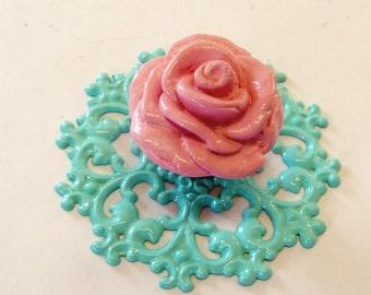 Pink Rose Knob Pull Aqua Backplate Trimplate