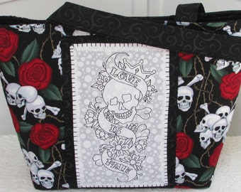 Skulls and Roses Large Tote Bag Red and Black Love is Pain Skull Tattoo Purse / Diaper Bag Ready To Ship